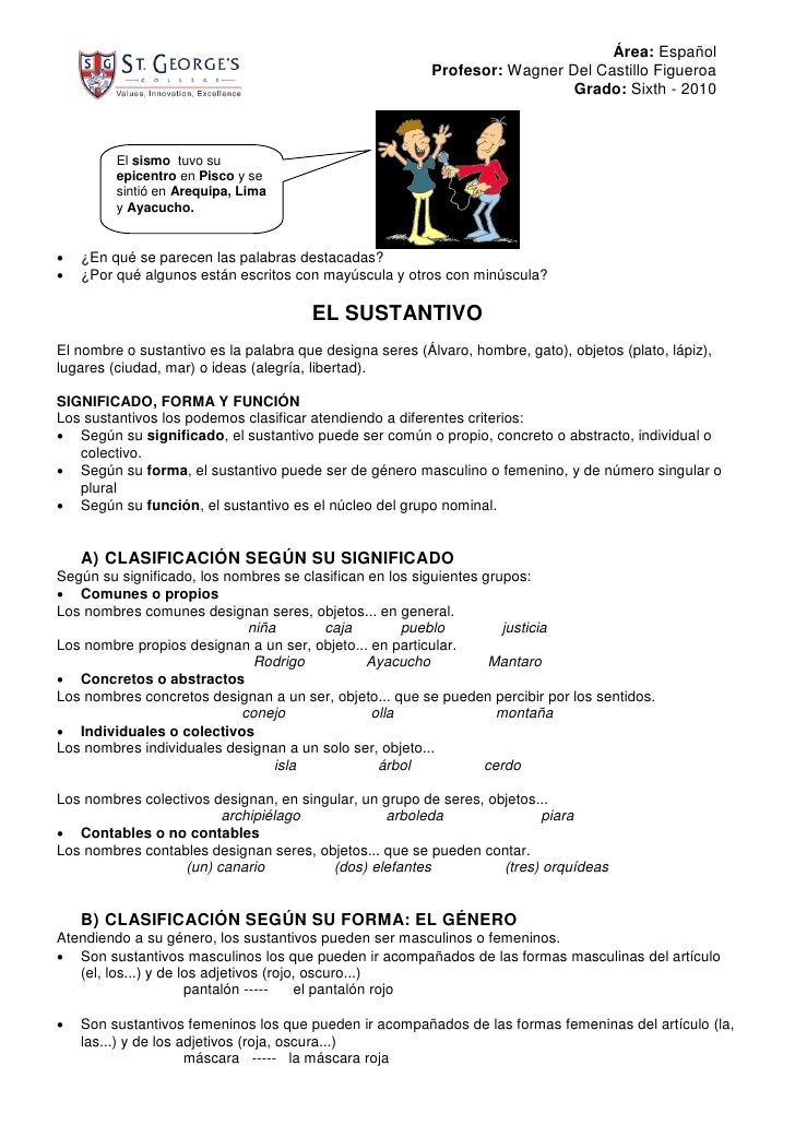 Área: Español                                                           Profesor: Wagner Del Castillo Figueroa            ...