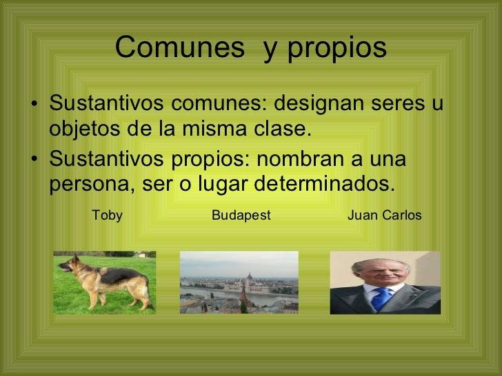 Comunes  y propios <ul><li>Sustantivos comunes: designan seres u objetos de la misma clase. </li></ul><ul><li>Sustantivos ...