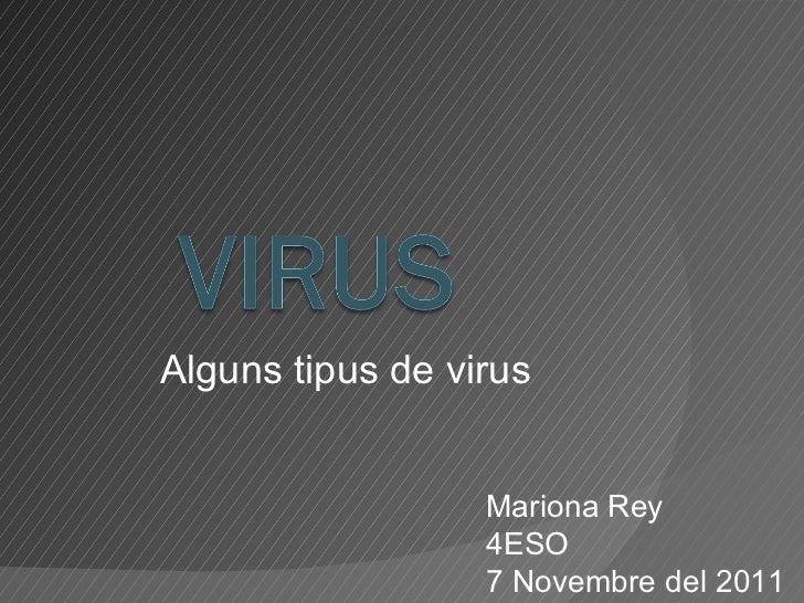 Alguns tipus de virus Mariona Rey 4ESO 7 Novembre del 2011