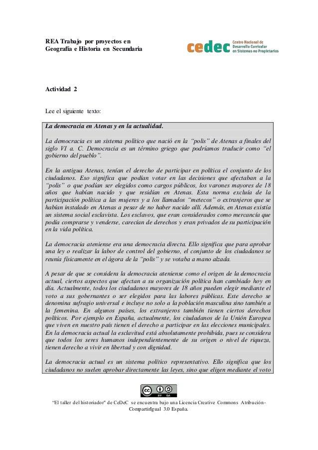 """REA Trabajo por proyectos en Geografía e Historia en Secundaria """"El taller del historiador"""" de CeDeC se encuentra bajo una..."""