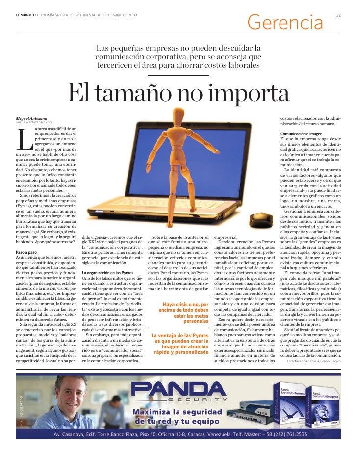 EL MUNDO ECONOMÍA&NEGOCIOS / LUNES 14 DE SEPTIEMBRE DE 2009                             /                                 ...