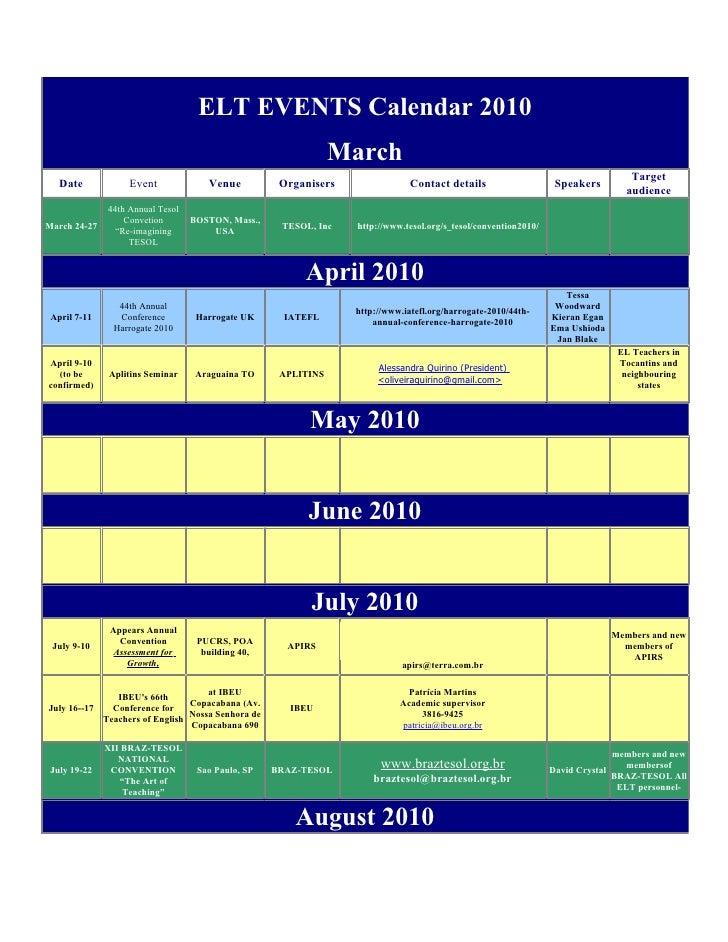 ELT EVENTS Calendar 2010                                                                  March                           ...