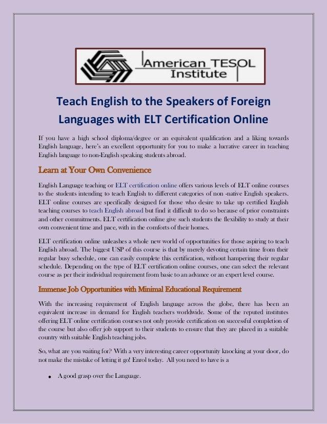 elt certification online