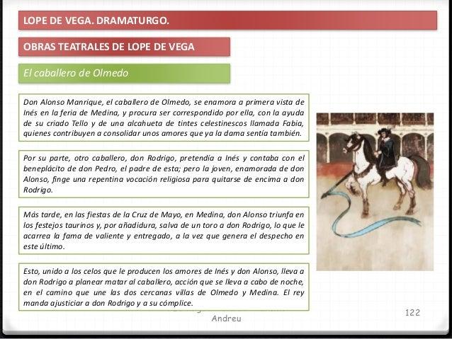 IES Miguel Catalán - Carmen Andreu 123 LOPE DE VEGA. DRAMATURGO. OBRAS TEATRALES DE LOPE DE VEGA El caballero de Olmedo DO...