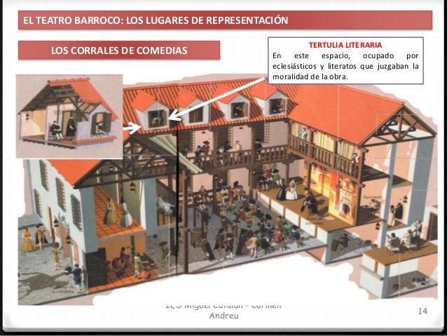 IES Miguel Catalán - Carmen Andreu 15 EL TEATRO BARROCO: LOS LUGARES DE REPRESENTACIÓN LOS CORRALES DE COMEDIAS CORREDORES...