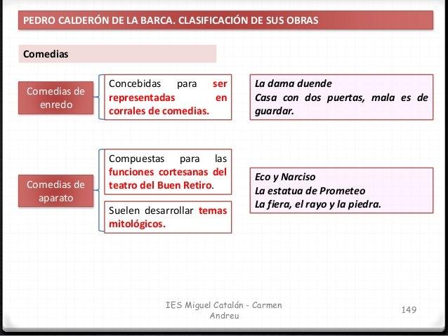 IES Miguel Catalán - Carmen Andreu 150 PEDRO CALDERÓN DE LA BARCA. CLASIFICACIÓN DE SUS OBRAS Plantean conflictos entre la...