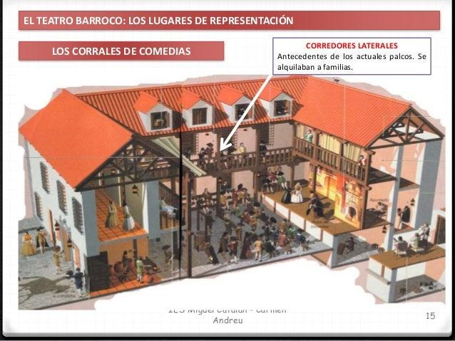 IES Miguel Catalán - Carmen Andreu 16 EL TEATRO BARROCO: LOS LUGARES DE REPRESENTACIÓN LOS CORRALES DE COMEDIAS APOSENTOS ...