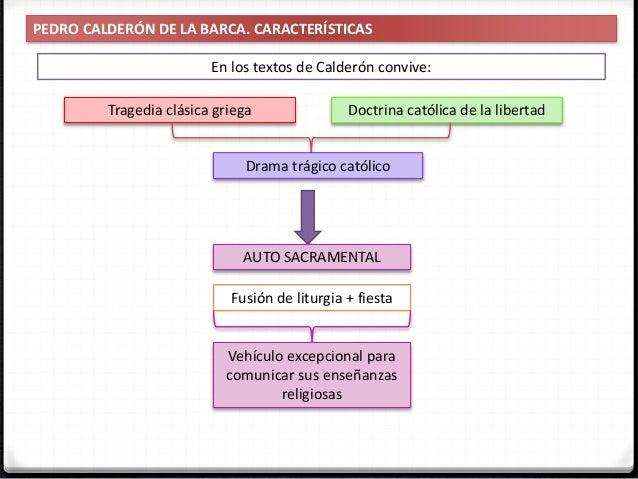 PEDRO CALDERÓN DE LA BARCA. CARACTERÍSTICAS En los textos de Calderón se entrecruzan y complementan: Sentido trágico Comic...