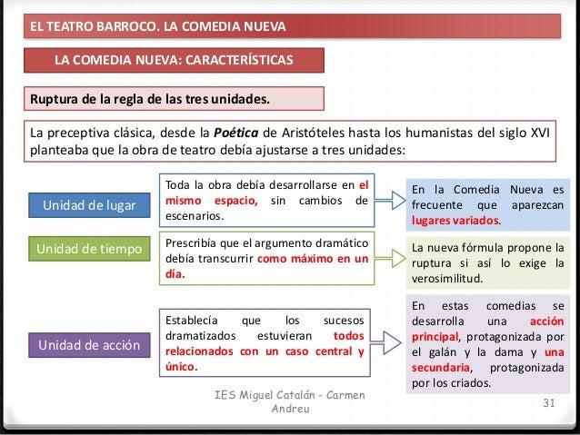 EL TEATRO BARROCO. LA COMEDIA NUEVA LA COMEDIA NUEVA: CARACTERÍSTICAS 32 IES Miguel Catalán - Carmen Andreu Ruptura de la ...