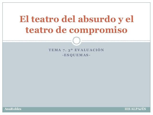 T E M A 7 . 3 º E V A L U A C I Ó N - E S Q U E M A S - El teatro del absurdo y el teatro de compromiso AnaRobles IES ALPA...