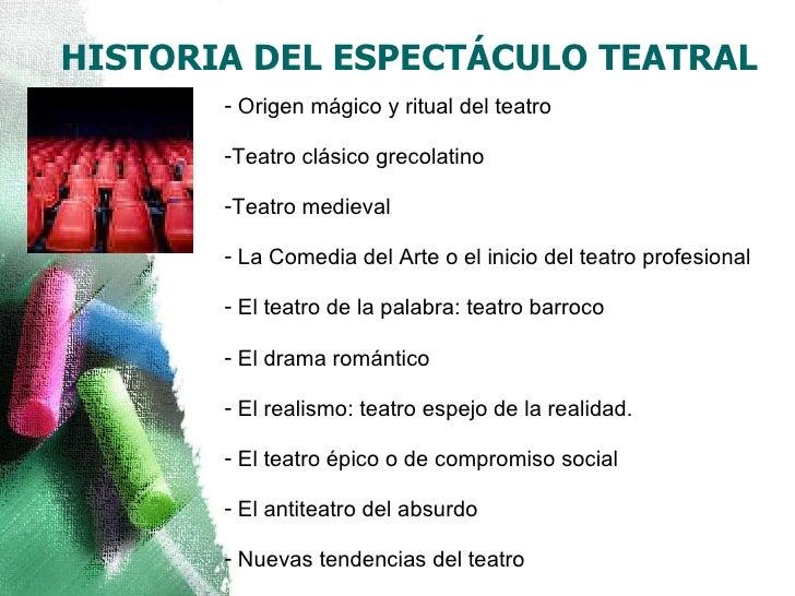 HISTORIA DEL ESPECTÁCULO TEATRAL <ul><li>Origen mágico y ritual del teatro </li></ul><ul><li>Teatro clásico grecolatino </...