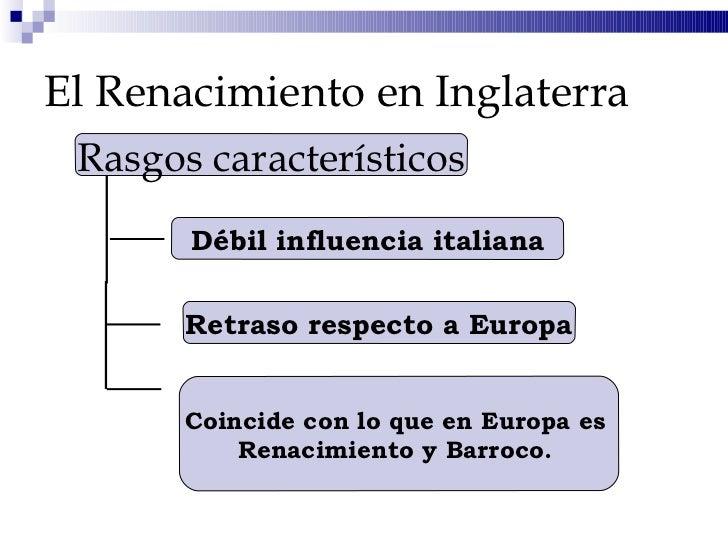 El Renacimiento en Inglaterra Rasgos característicos Débil influencia italiana Retraso respecto a Europa Coincide con lo q...