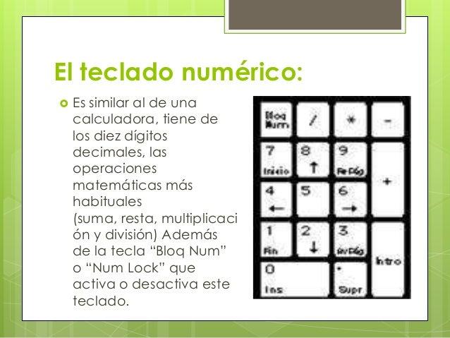 El teclado numérico:   Es similar al de una    calculadora, tiene de    los diez dígitos    decimales, las    operaciones...