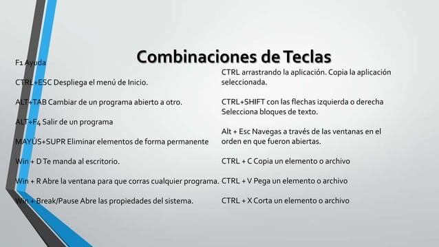 F1 Ayuda  Combinaciones de Teclas  CTRL+ESC Despliega el menú de Inicio. ALT+TAB Cambiar de un programa abierto a otro.  C...