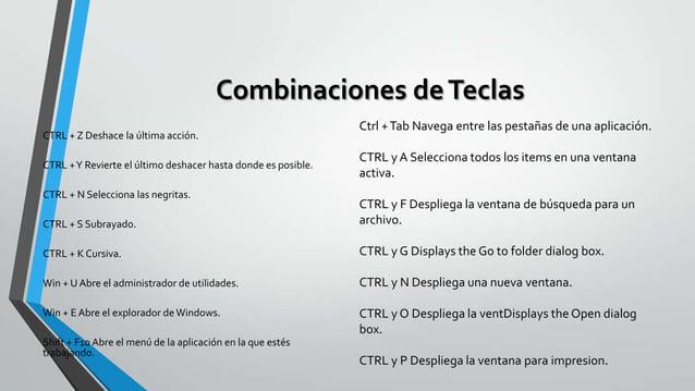 Combinaciones de Teclas CTRL + Z Deshace la última acción. CTRL + Y Revierte el último deshacer hasta donde es posible. CT...