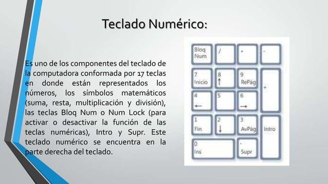 Teclado Numérico: Es uno de los componentes del teclado de la computadora conformada por 17 teclas en donde están represen...