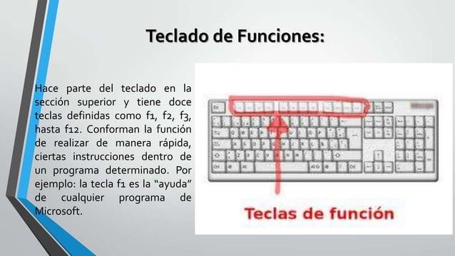Teclado de Funciones: Hace parte del teclado en la sección superior y tiene doce teclas definidas como f1, f2, f3, hasta f...
