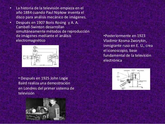 •   En el año 1939 Los primeros televisores son       fabricados y vendidos en E.U. por       RCA, GE, DuMont y Philco, en...