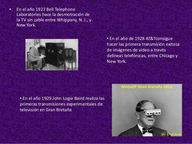 •   En el año de 1950 en E.E.U.U., se realizan las    primeras pruebas de laboratorio de la TV en    tercera dimensión. Nu...