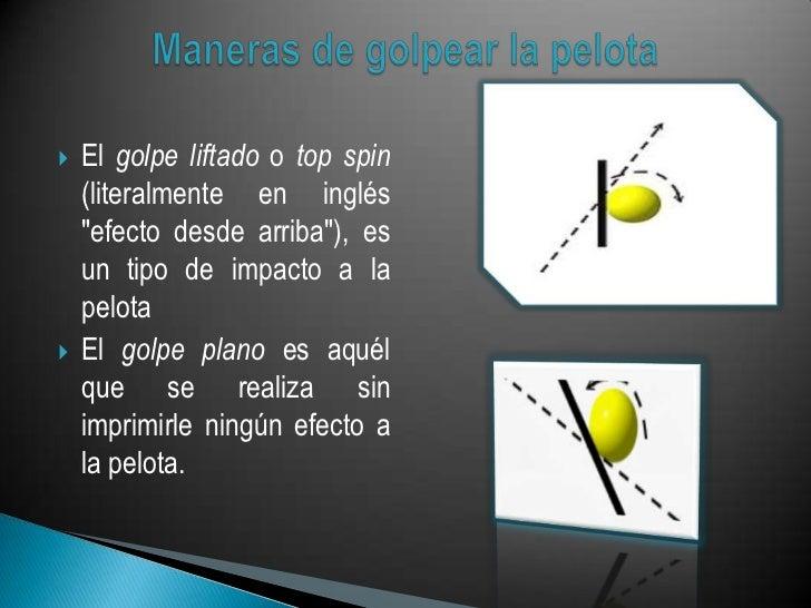 """   El golpe liftado o top spin    (literalmente en inglés    """"efecto desde arriba""""), es    un tipo de impacto a la    pel..."""