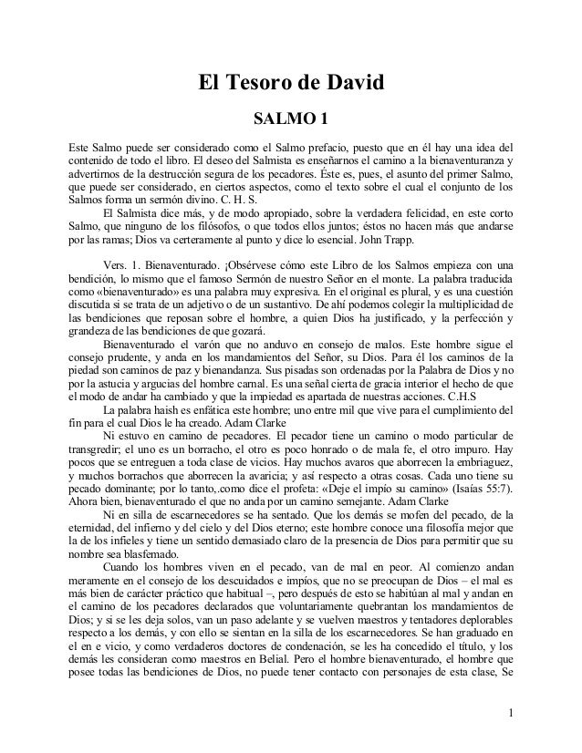 El Tesoro de David SALMO 1 Este Salmo puede ser considerado como el Salmo prefacio, puesto que en él hay una idea del cont...