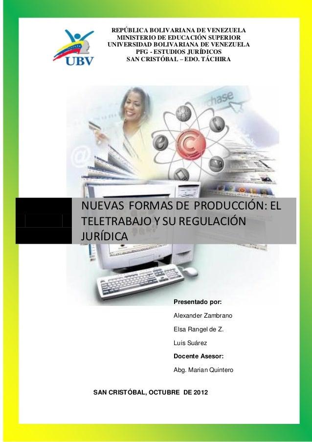 REPÚBLICA BOLIVARIANA DE VENEZUELA      MINISTERIO DE EDUCACIÓN SUPERIOR    UNIVERSIDAD BOLIVARIANA DE VENEZUELA          ...