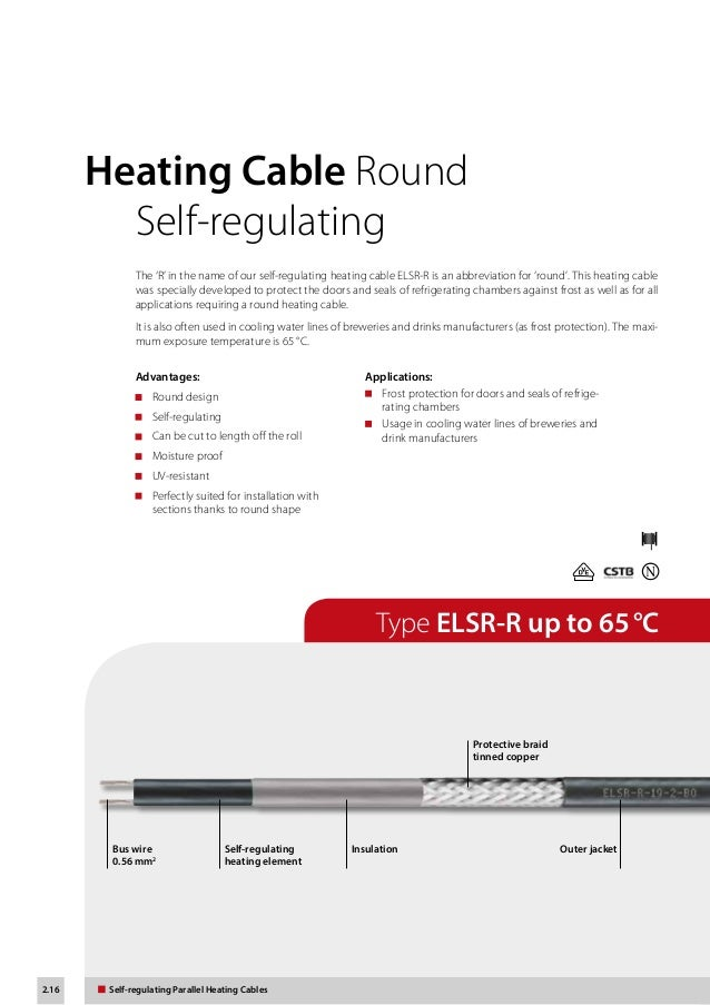 eltherm self regulating heat trace cable product catalogue 16 2 16 self regulating parallel heating