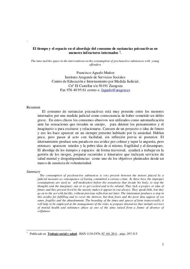 .      El tiempo y el espacio en el abordaje del consumo de sustancias psicoactivas en                             menores...