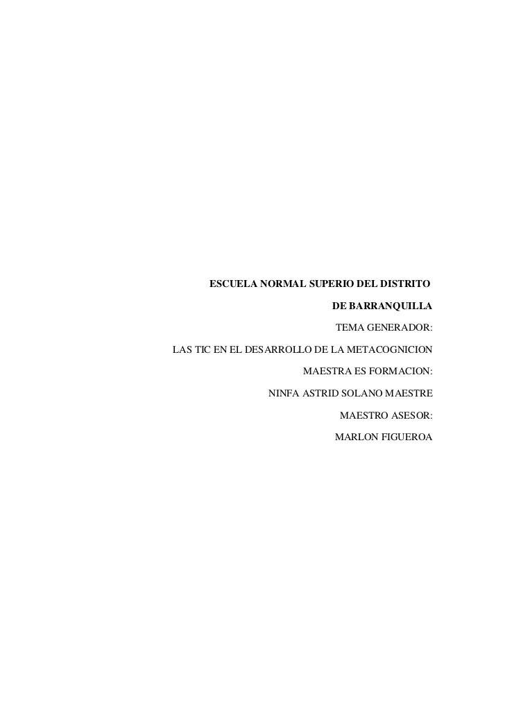 ESCUELA NORMAL SUPERIO DEL DISTRITO<br /> DE BARRANQUILLA<br />TEMA ...