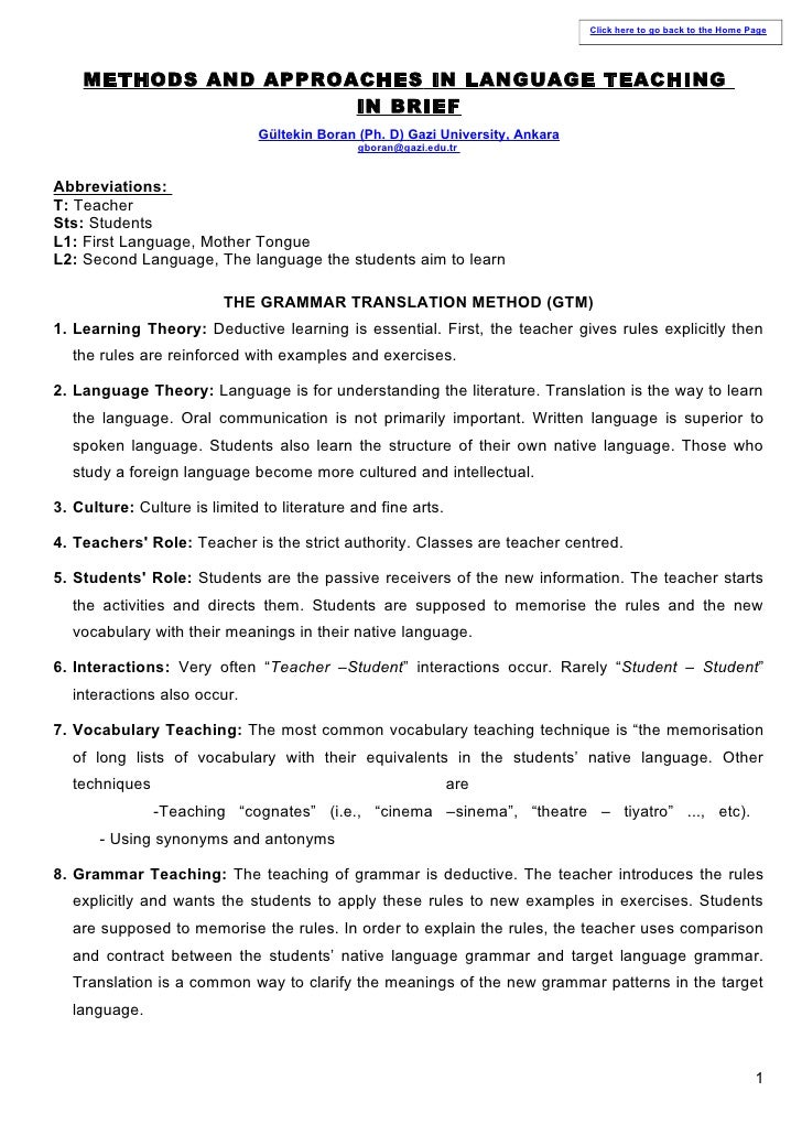 Click here to go back to the Home Page    METHODS AND APPROACHES IN LANGUAGE TEACHING                      IN BRIEF       ...