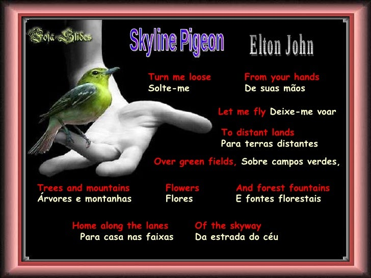 Skyline Pigeon Elton John  Turn me loose  Solte-me  From your hands De suas mãos Let me fly  Deixe-me voar   To distant la...