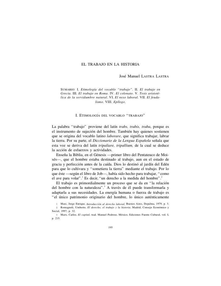 EL TRABAJO EN LA HISTORIA                                                          José Manuel LASTRA LASTRA          SUMA...