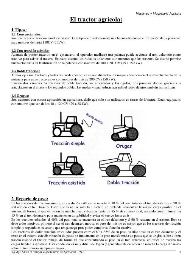 Mecánica y Maquinaria Agrícola Ing. Agr. Adrián G. Vallejos. Departamento de Agronomía. U.N.S. 1 El tractor agrícola: 1 Ti...
