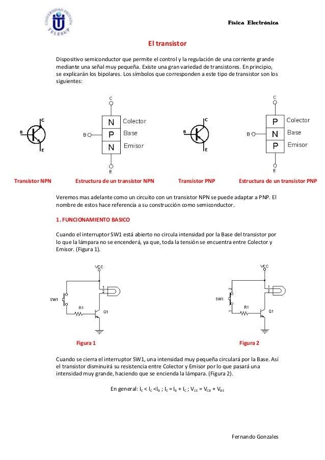 Física Electrónica                                                         El transistor                 Dispositivo semic...