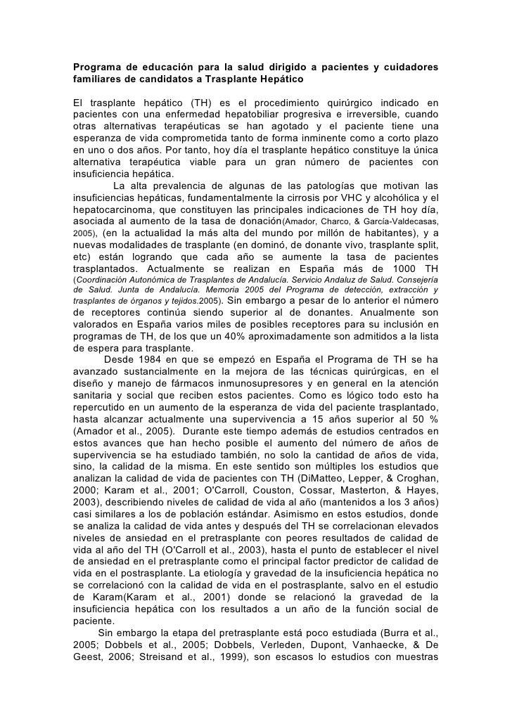 Programa de educación para la salud dirigido a pacientes y cuidadores familiares de candidatos a Trasplante Hepático  El t...