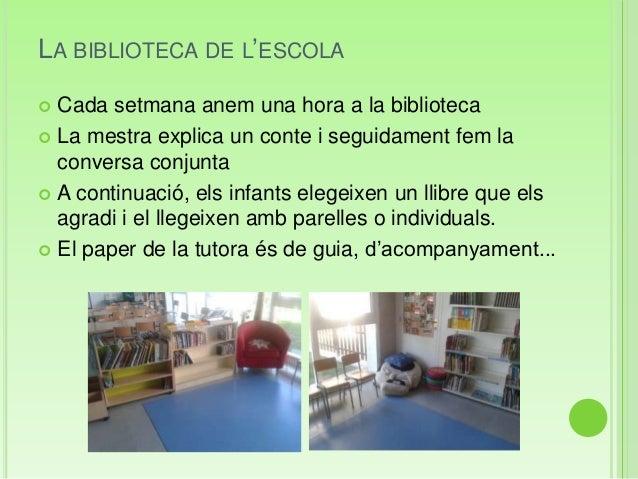 LA BIBLIOTECA DE L'ESCOLA Cada setmana anem una hora a la biblioteca La mestra explica un conte i seguidament fem laconv...