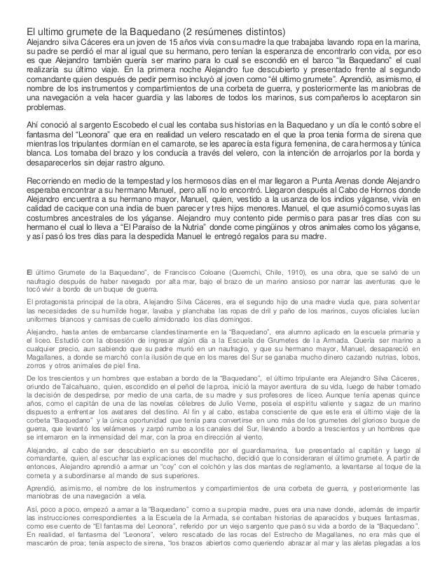 El ultimo grumete de la Baquedano (2 resúmenes distintos) Alejandro silva Cáceres era un joven de 15 años vivía con su mad...