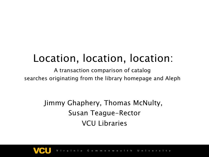 Location, location, location: A transaction comparison of catalog  searches originating from the library homepage and Alep...