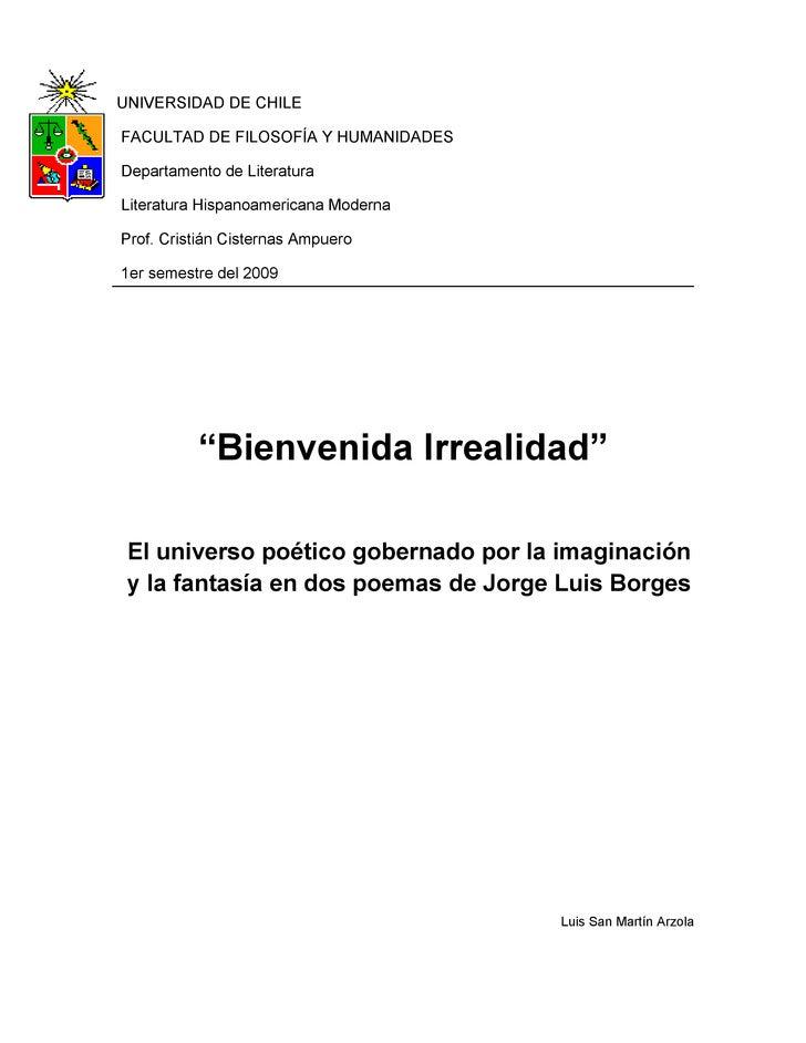 UNIVERSIDAD DE CHILE  FACULTAD DE FILOSOFÍA Y HUMANIDADES  Departamento de Literatura  Literatura Hispanoamericana Moderna...
