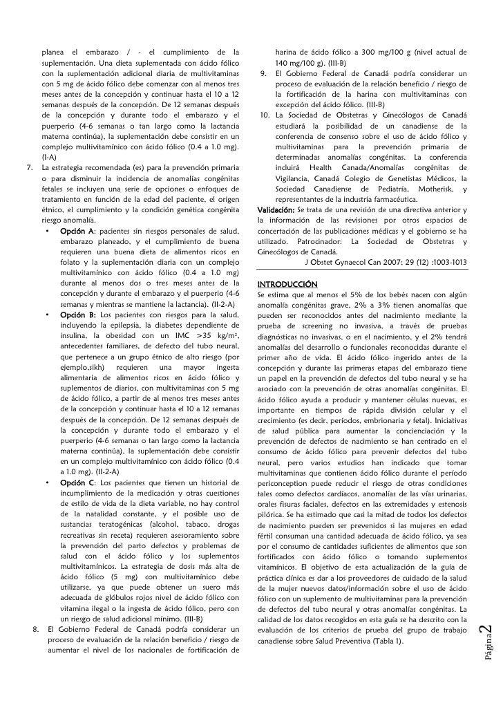El uso de ácido fólico en combinación con un suplemento de multivitaminas para la prevención de defectos del tubo neural y otras anomalías congénitas Slide 2