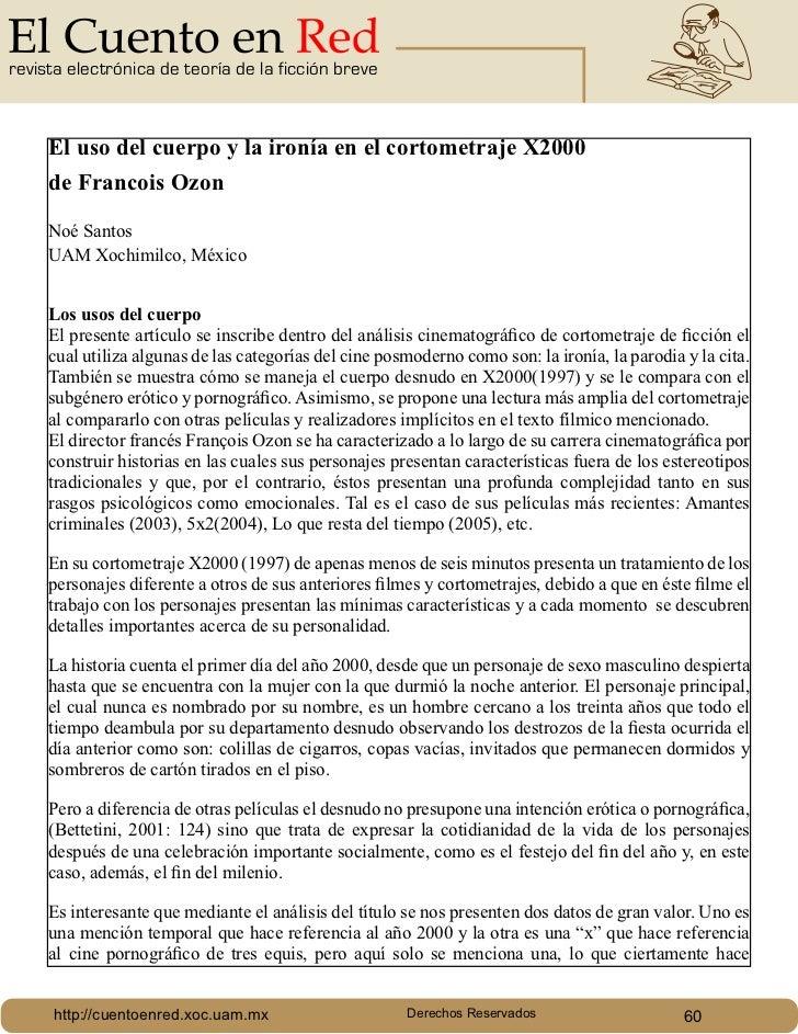 revista electrónica de teoría de la ficción breve     El uso del cuerpo y la ironía en el cortometraje X2000     de Franco...