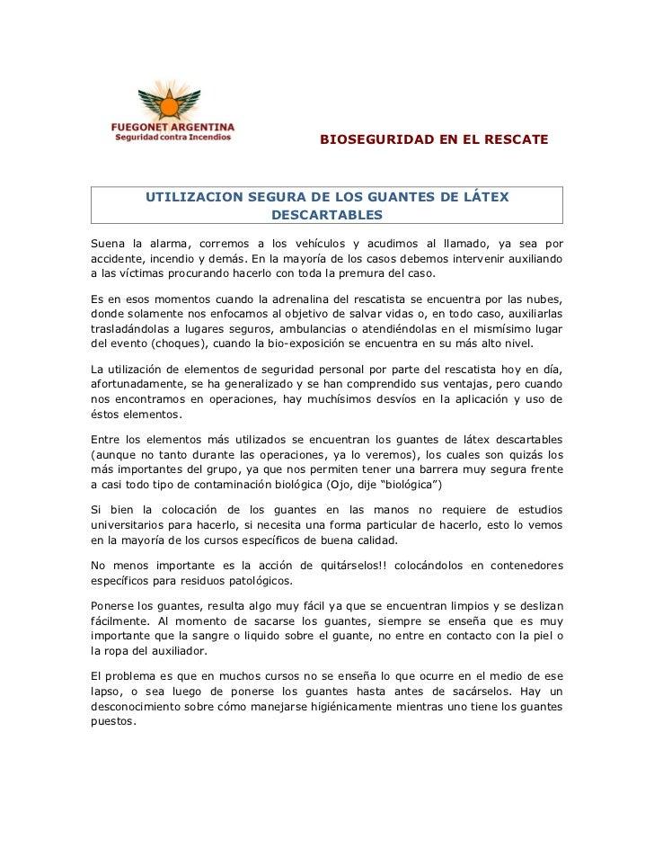 BIOSEGURIDAD EN EL RESCATE EL USO DE GUANTES DE LATEX