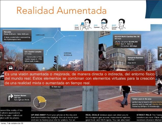 Realidad Aumentada Es una visión aumentada o mejorada, de manera directa o indirecta, del entorno físico del mundo real. E...