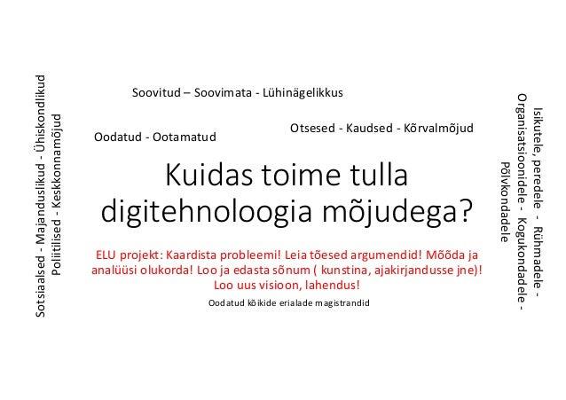 Kuidas toime tulla digitehnoloogia mõjudega? ELUprojekt:Kaardista probleemi! Leiatõesed argumendid! Mõõda ja analüüsi ...