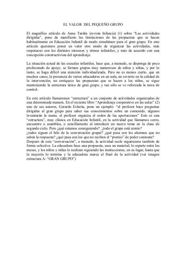 """EL VALOR DEL PEQUEÑO GRUPO El magnífico artículo de Anna Tardós (revista Infancia) (1) sobre """"Las actividades dirigidas"""", ..."""