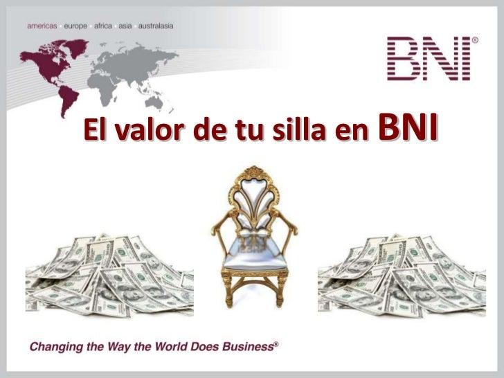 El valor de tu silla en BNI
