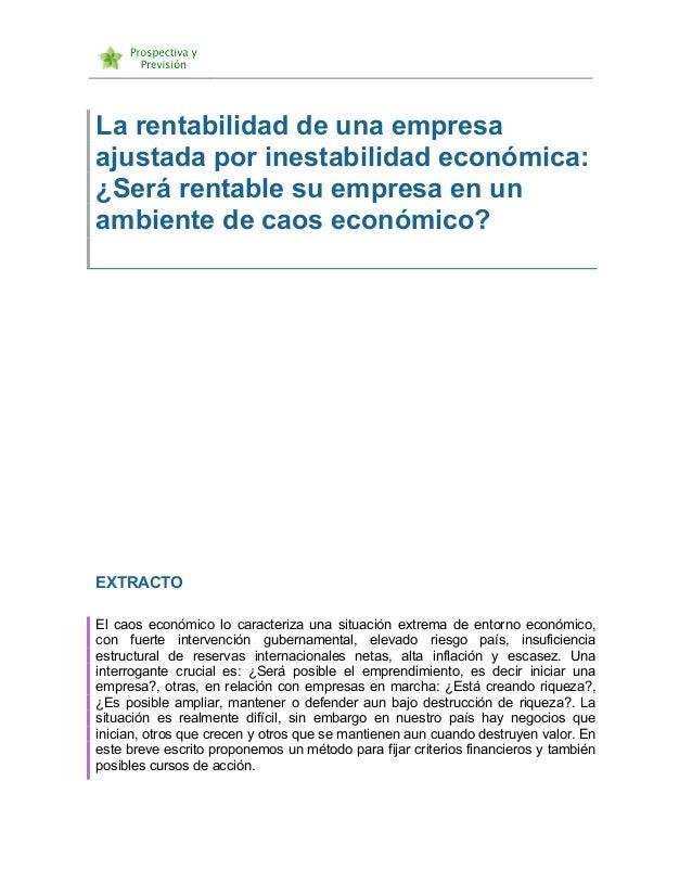 La rentabilidad de una empresa ajustada por inestabilidad económica: ¿Será rentable su empresa en un ambiente de ca...