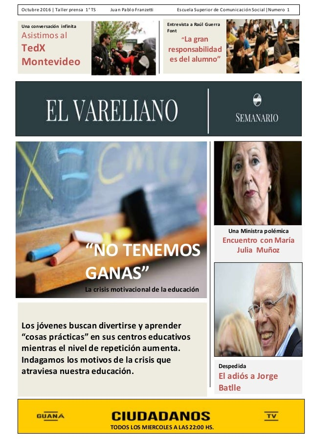 """Entrevista a Raúl Guerra Font """"La gran responsabilidad es del alumno"""" Una conversación infinita Asistimos al TedX Montevid..."""