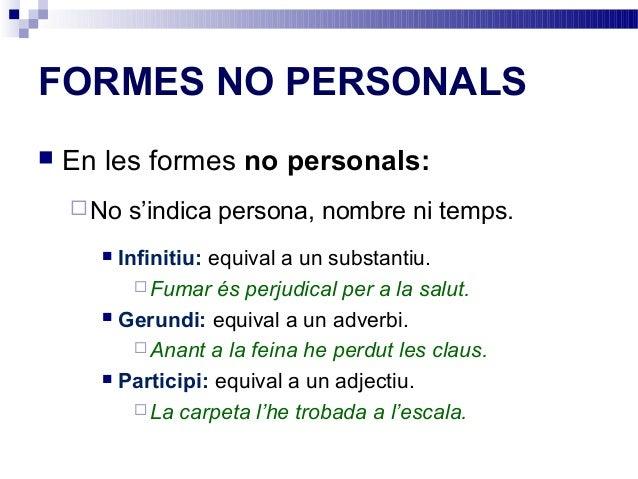 Resultado de imagen de formes personals i no personals del verb
