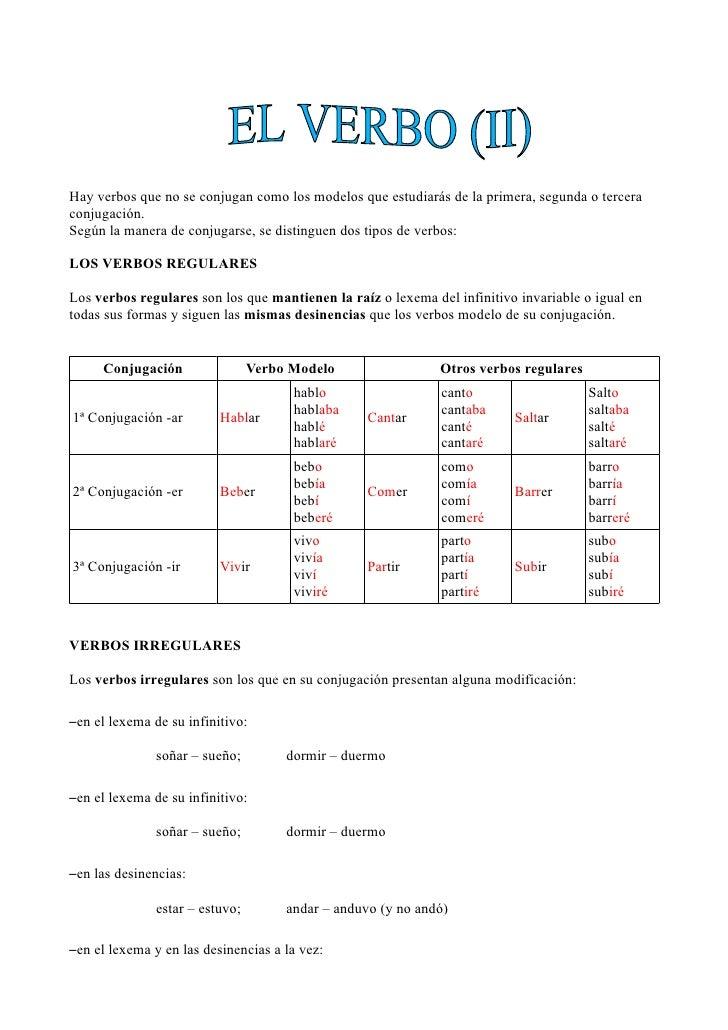 Hay verbos que no se conjugan como los modelos que estudiarás de la primera, segunda o terceraconjugación.Según la manera ...